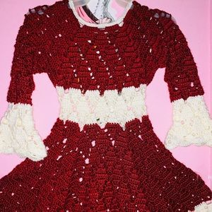 Other - Red & pearl white crochet dress 🧶